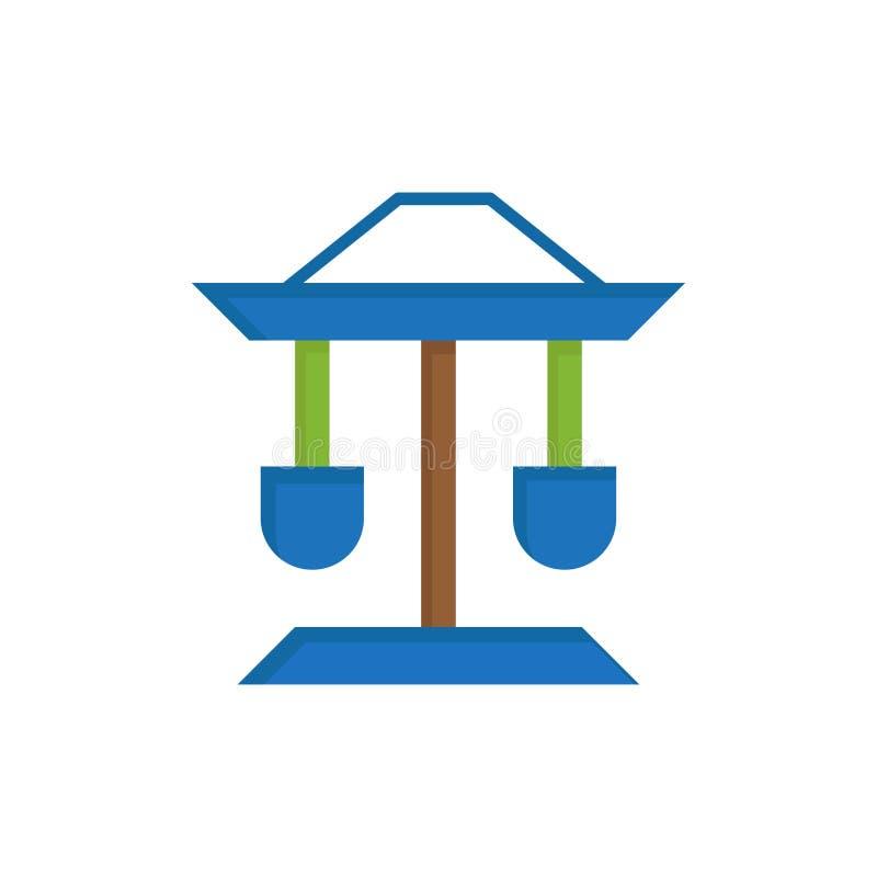 Bęben, Dobrze, prawo, Balansowa Płaska kolor ikona Wektorowy ikona sztandaru szablon royalty ilustracja