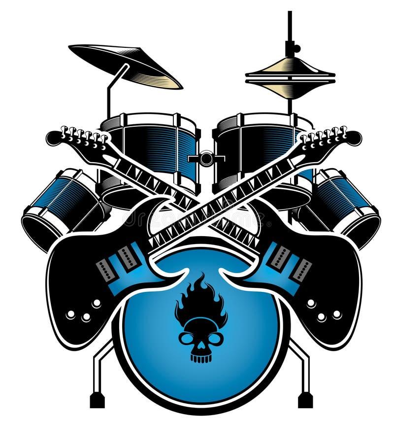 Bęben gitara set i ilustracja wektor
