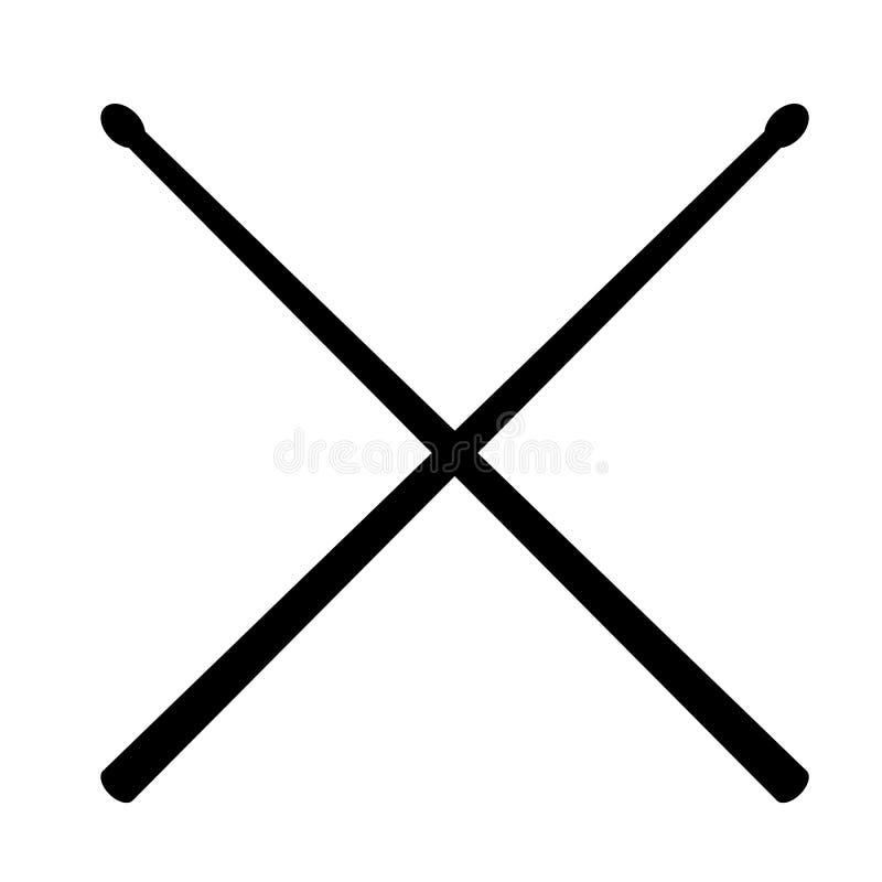 Bęben wtyka ikonę na białym tle Mieszkanie styl Drumsticks ikona dla twój strona internetowa projekta, logo, app, UI bęben wtyka  ilustracji