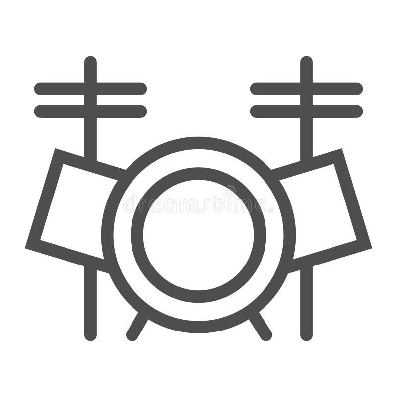 Bębenu setu linii ikona, muzyka i instrument, bębenu zestawu znak, wektorowe grafika, liniowy wzór na białym tle ilustracja wektor