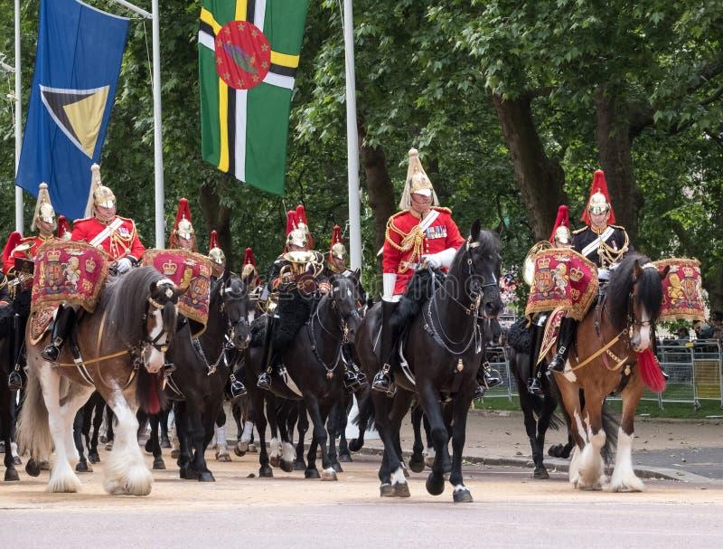 Bębni konia z jeźdzem, wraz z gospodarstwo domowe kawalerią bierze część w Gromadzić się Colour militarną ceremonię, Londyn UK zdjęcia stock