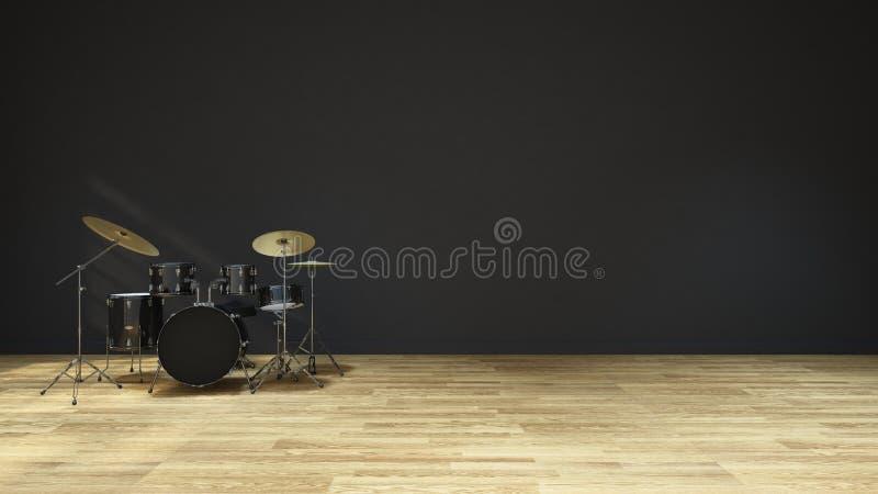 Bębni muzycznego pokój - Wewnętrznego projekta 3D ilustracja ilustracja wektor