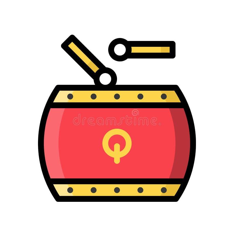 Bębni wektor, Chiński nowy rok odnosić sie wypełniający stylowej ikony editable uderzenie ilustracji