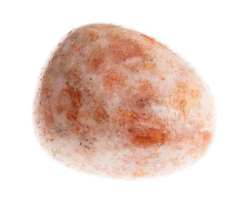 bębnujący Oregon sunstone gemstone na bielu fotografia stock