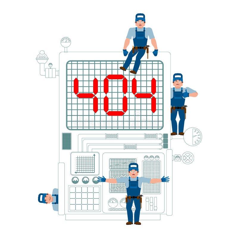 404 błąd Miejsce jest na utrzymaniu Usługowa drużyna naprawia pag ilustracja wektor