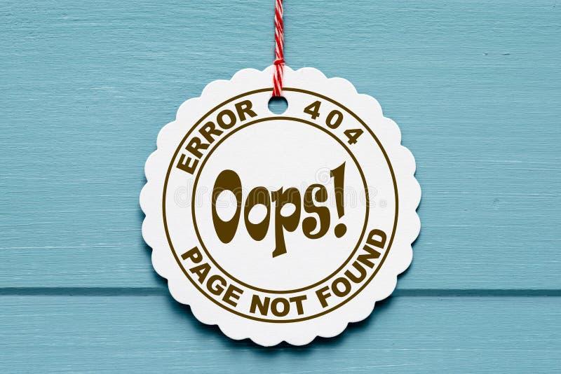 404 błąd na papierowej etykietce ilustracja wektor