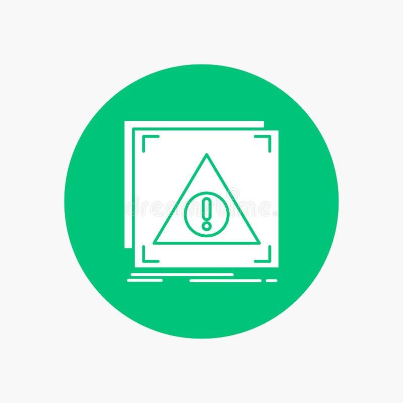 Błąd, zastosowanie, Zaprzeczający, serwer, raźna Biała glif ikona w okręgu Wektorowa guzik ilustracja ilustracji