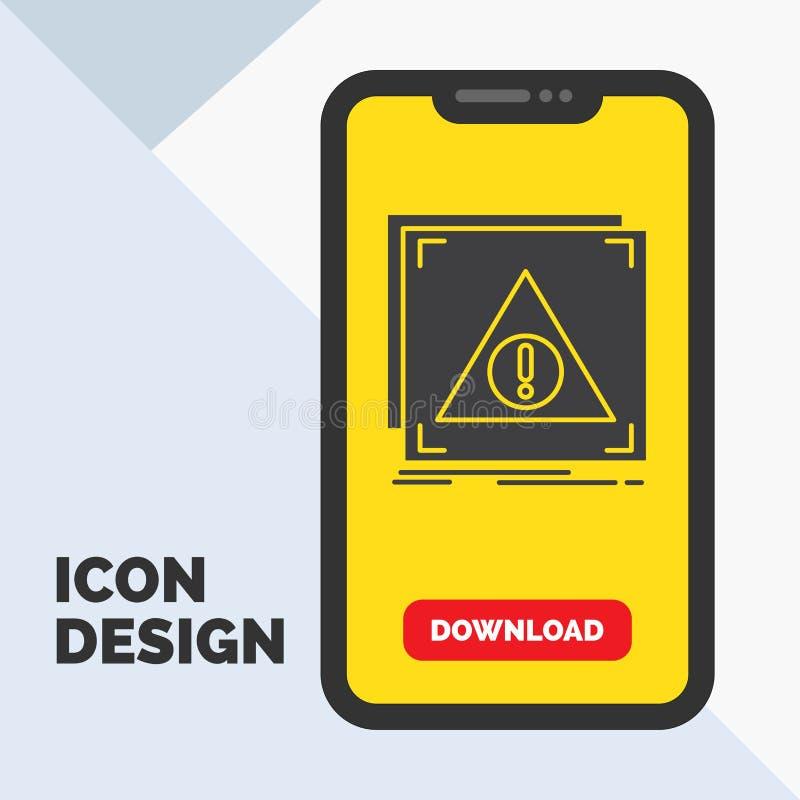 Błąd, zastosowanie, Zaprzeczający, serwer, raźna glif ikona w wiszącej ozdobie dla ściąganie strony ? ilustracja wektor