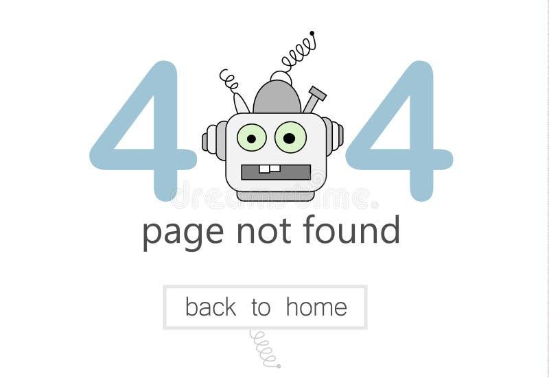 404 błędów strony wektorowy szablon dla strony internetowej Ilustracja kreskówka robot royalty ilustracja