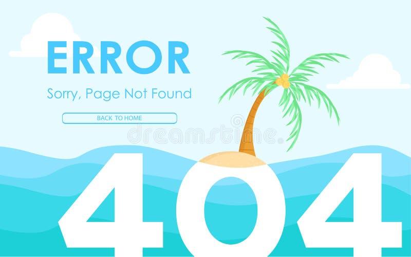 404 błędów strony znajdujący płaski projekt z opustoszałego wyspy tła wektorowym projektem ilustracji