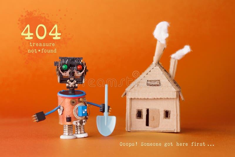 404 błędów strony znajdujący pojęcie Robota skarbu myśliwy z łopatą blisko kartonowego zabawka domu Teksta skarb nie obrazy stock