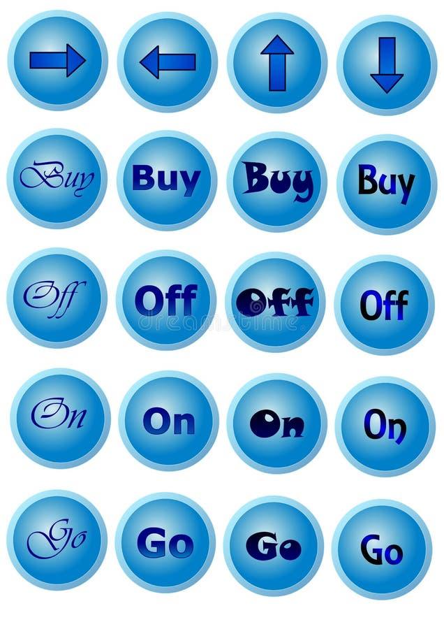 Błękitów guziki z znakami zdjęcia stock