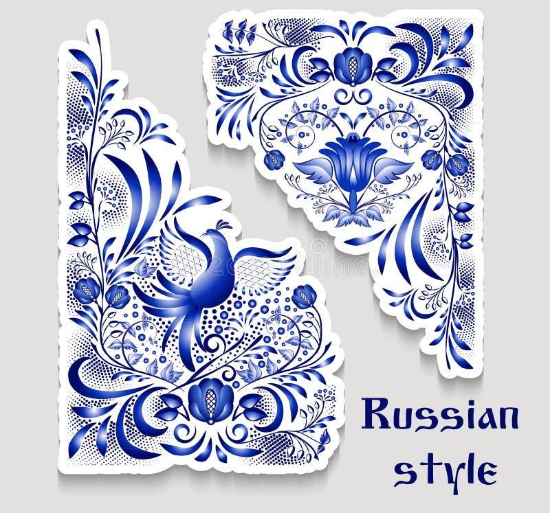Błękitów wzory na kącie z ptakami i kwiatami w stylu krajowego porcelana obrazu Graniaści kwieciści elementów majchery ilustracji
