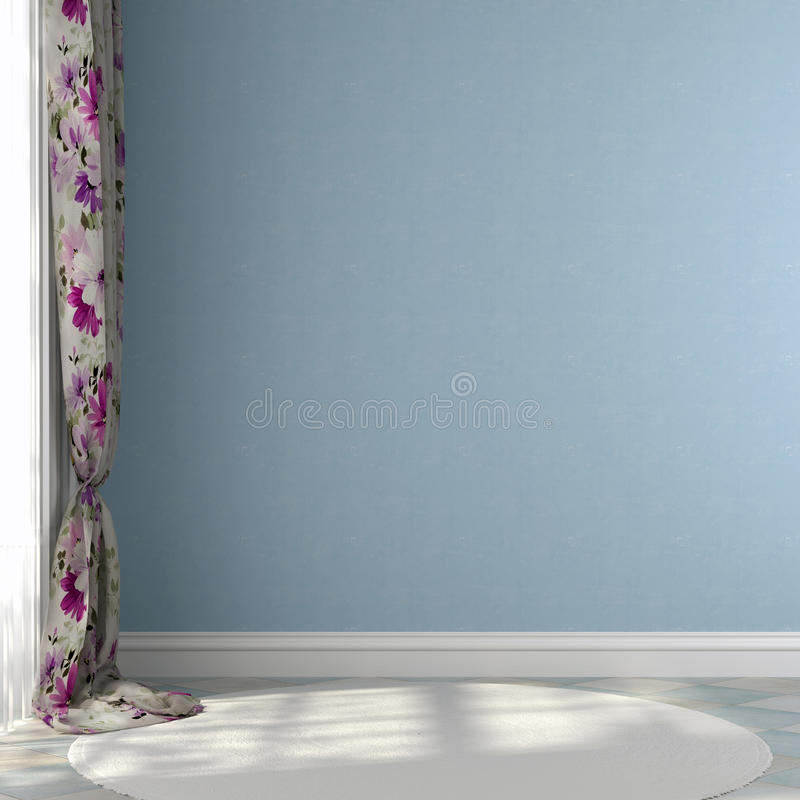 Błękit ściana z barwionymi zasłonami fotografia royalty free