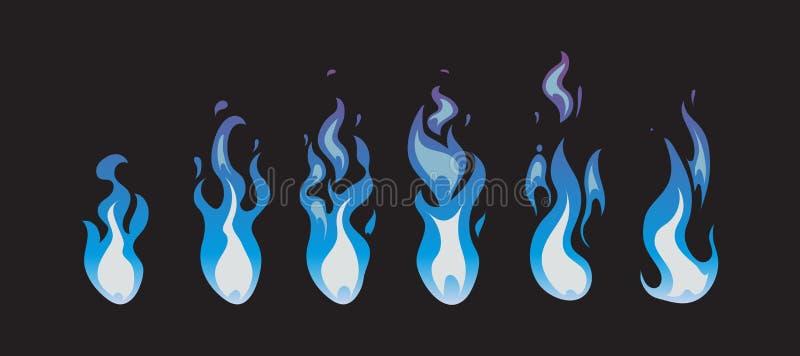 Błękit animaci pożarniczy wektorowi sprites, płomienie ilustracja wektor