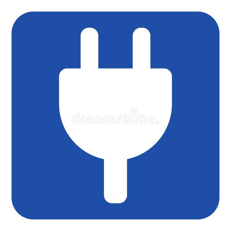 Błękit, bielu znak - elektryczna wtyczkowa symbol ikona ilustracja wektor