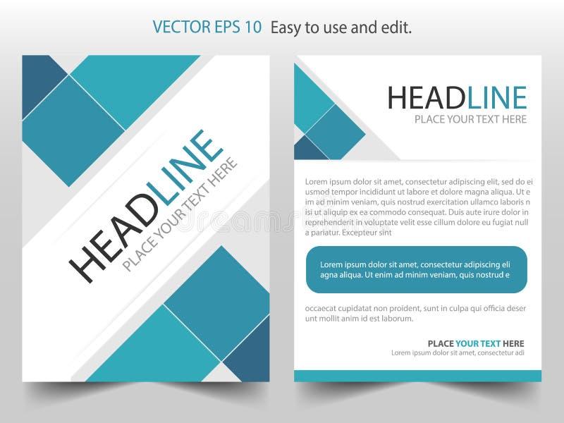 Błękit broszurki projekta szablonu kwadratowy Korporacyjny wektor Biznesowych ulotek magazynu infographic plakat Abstrakcjonistyc royalty ilustracja