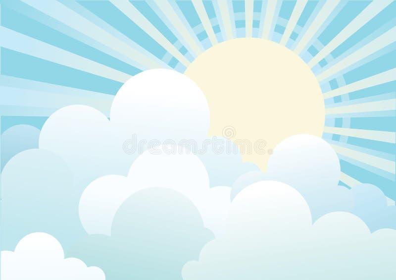 błękit chmurnieje nieba słońce ilustracji