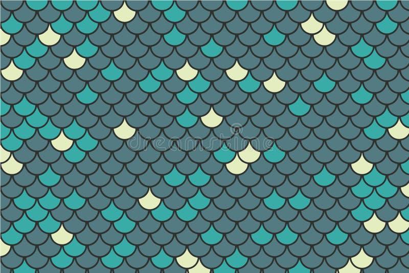 Błękit, cyraneczka i jasnożółty rybiej skali tło, royalty ilustracja