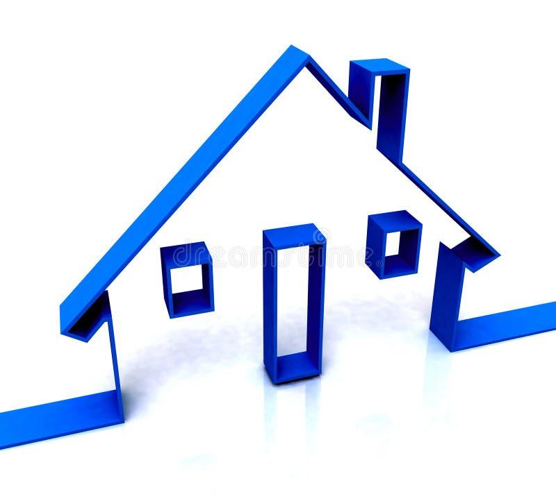 Błękit Domu Nakreślenie Pokazywać Nieruchomość Lub Wynajem royalty ilustracja
