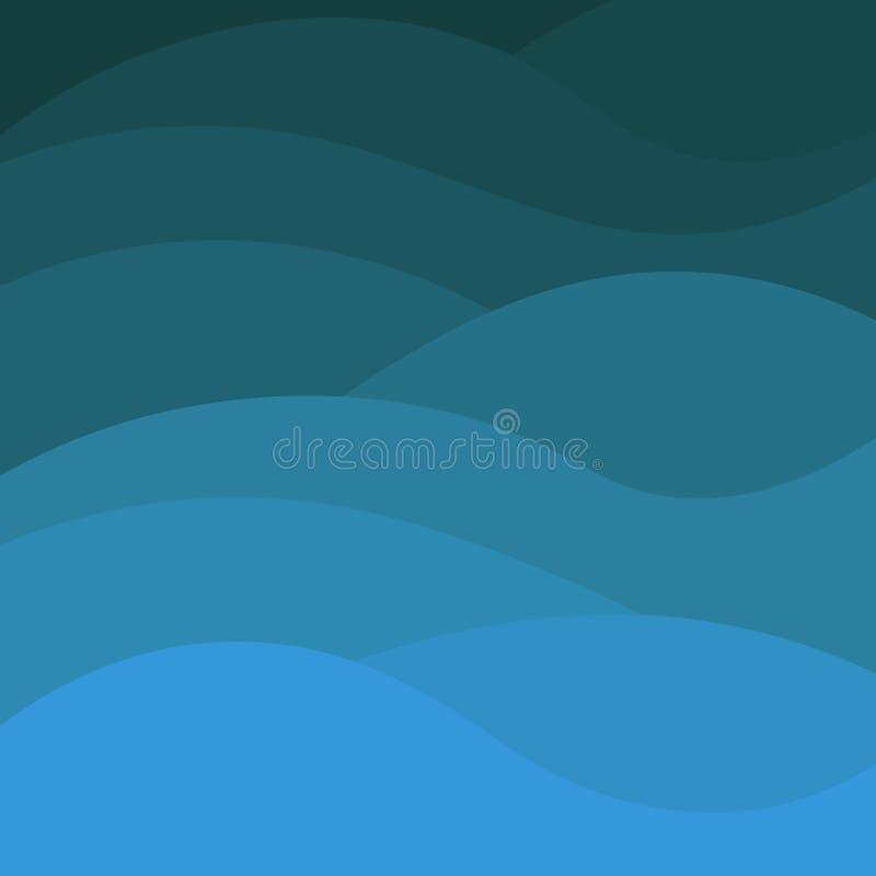 Błękit fali papieru sztuki kreskówki abstrakcjonistyczna Wektorowa ilustracja Nowo?ytny origami projekt ilustracji