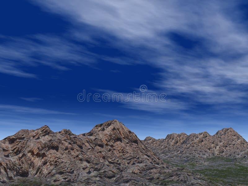błękit głębokich wzgórzy skalisty niebo royalty ilustracja