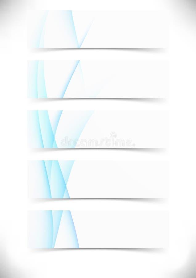 Błękit gładka fala wykłada karty ustawiać - sieci stopka ilustracja wektor