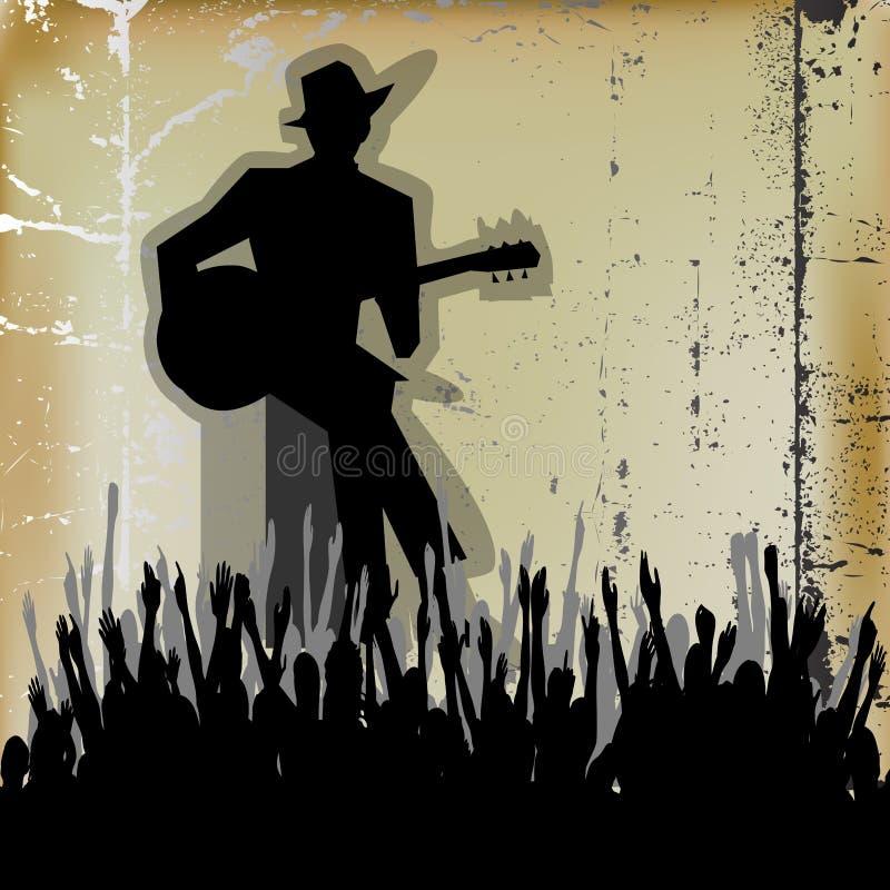 Błękit gitary koncert, ilustracja wektor