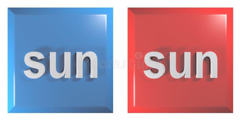 Błękit i czerwona para kwadratowi pchnięcie guziki NIEDZIELA - 3D renderingu ilustracja ilustracji