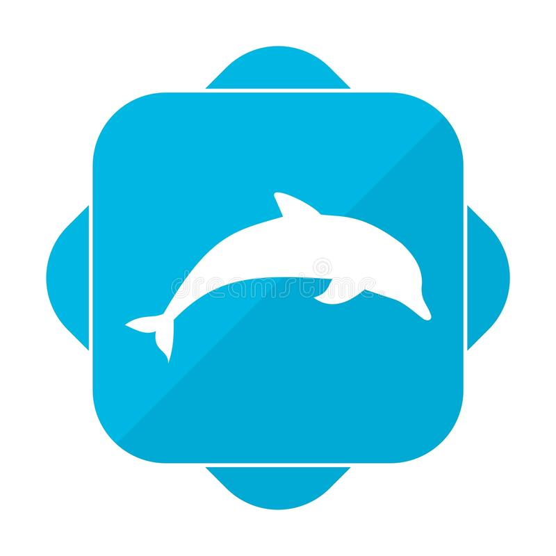 Błękit ikony kwadratowy delfin royalty ilustracja