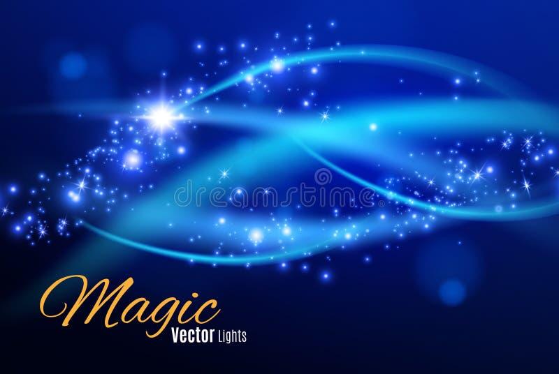 Błękit iskrzy i gwiazdy połyskują specjalnego lekkiego skutek Iskrzaste magiczne pył cząsteczki Lekkiego racy specjalny skutek z  royalty ilustracja