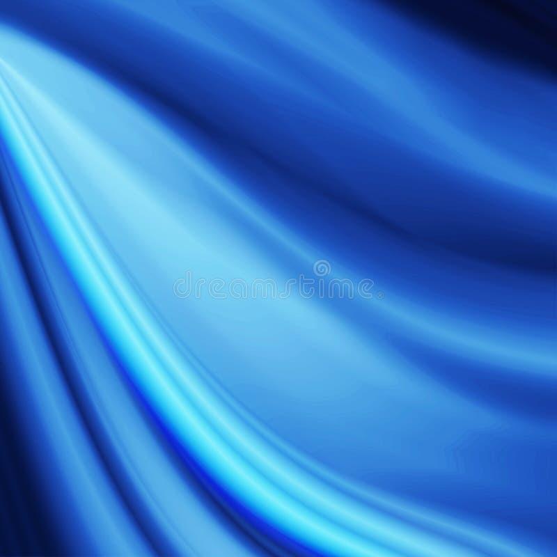Błękit jedwabniczej tkaniny tekstury abstrakta falowy tło royalty ilustracja