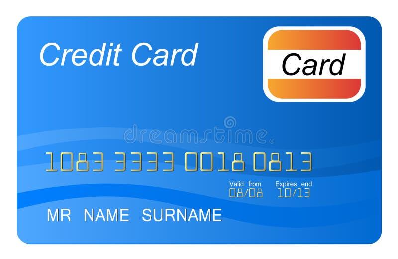 błękit karty kredyt ilustracji