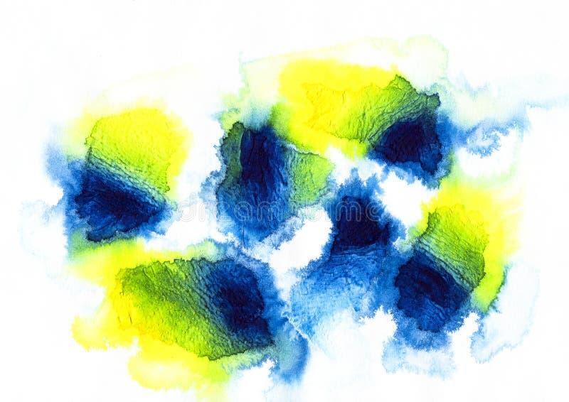 błękit, kolor żółty i grren akrylowego i akwarelę ilustracji