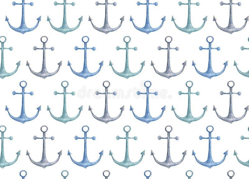 Błękit kotwicy wzór Akwarela nautyczna royalty ilustracja