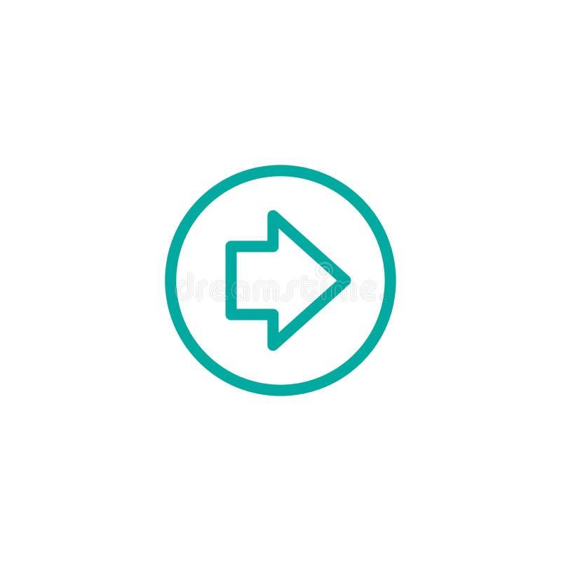 Błękit krótka prawa strzała w okręgu Kreskowa ikona Odizolowywający na bielu Kontynuuje ikonę royalty ilustracja