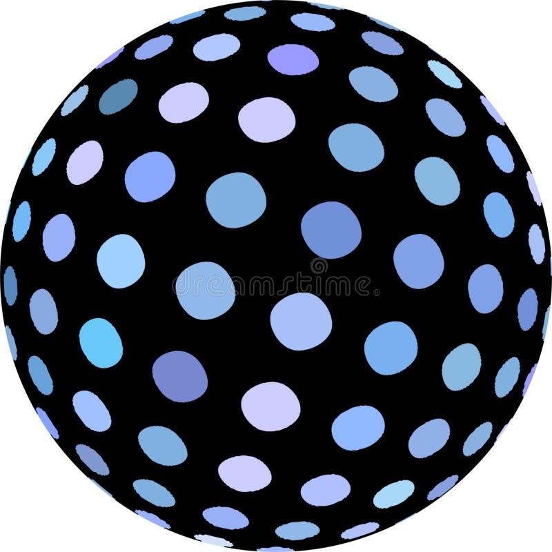 Błękit kropki na czarnej sfery 3d symbolu ilustracji Abstrakcjonistyczny makro- przedmiot odizolowywający ilustracja wektor