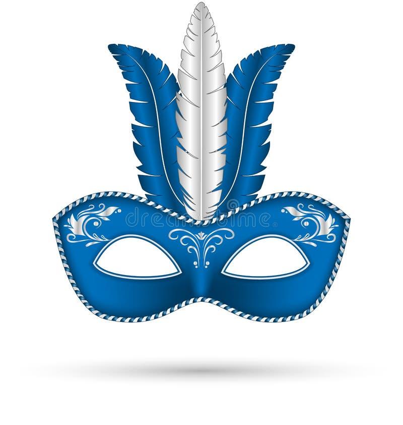 Błękit maska z piórkami royalty ilustracja