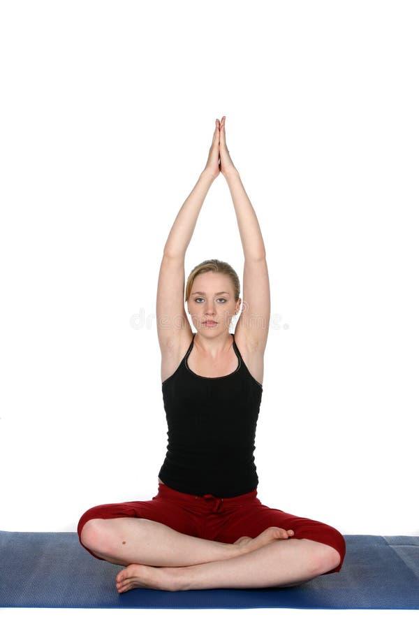 błękit matowi ćwiczyć kobiety joga potomstwa fotografia stock