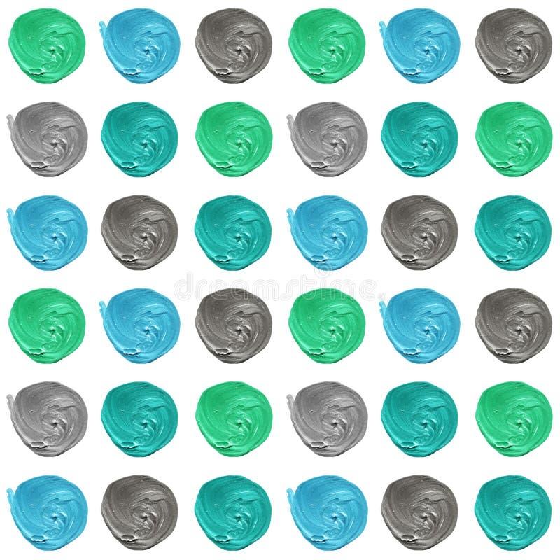 Błękit, mennica, szary pastelowy polki kropki bezszwowy wzór, akrylowy kropkowany tło royalty ilustracja