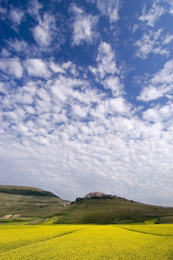 błękit nieba, żółty fotografia stock