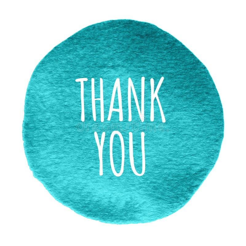 Błękit, nowy akwarela okrąg z słowami dziękuje ciebie odizolowywającego na białym tle ilustracja wektor