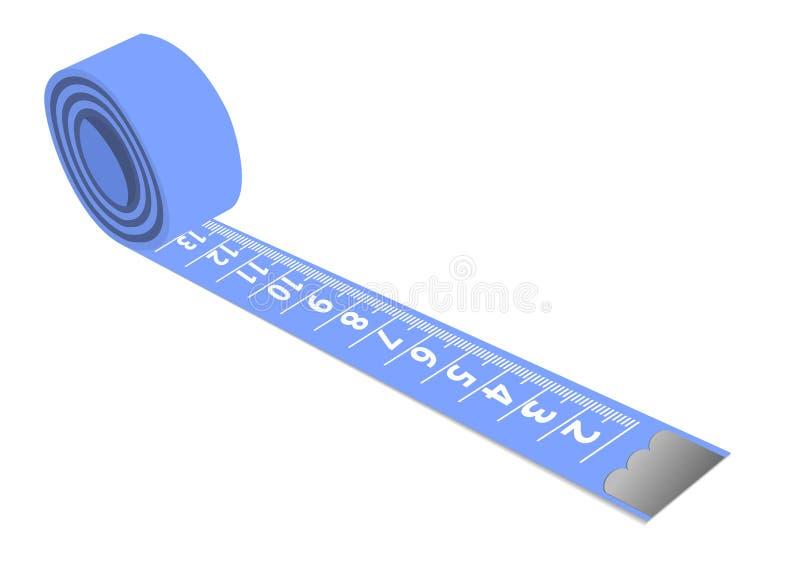 błękit odizolowywająca pomiarowa taśma ilustracji