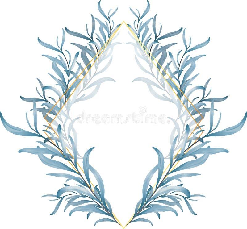 Błękit Opuszcza Złotą ramę, Ślubnego zaproszenia Wielocelowe karty ilustracja wektor