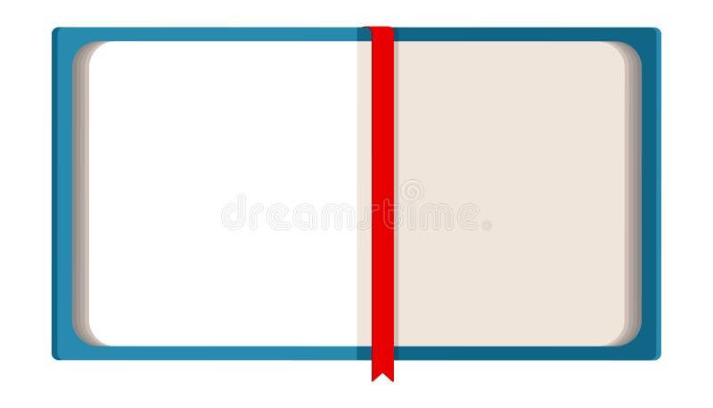 Błękit otwarta książka z czerwonym bookmark ilustracja wektor