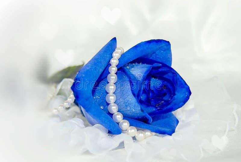 Błękit perły z sercami i róża obraz royalty free