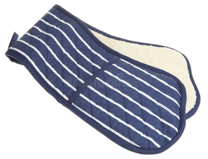 błękit piekarnik dwoisty rękawiczkowy paskował obraz stock