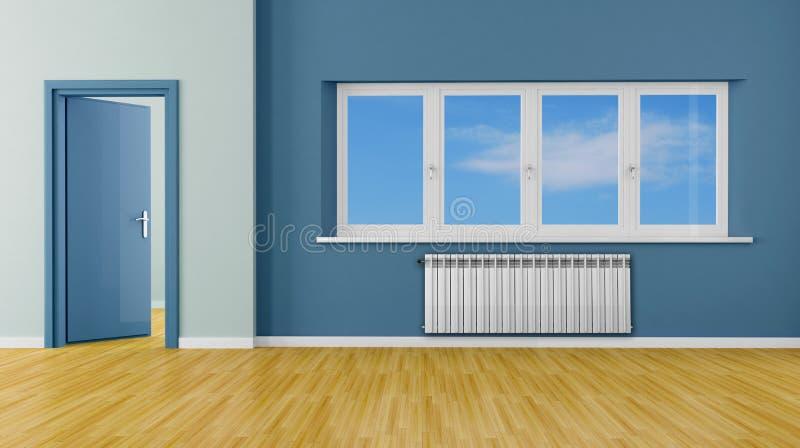błękit pokój pusty nowożytny ilustracja wektor