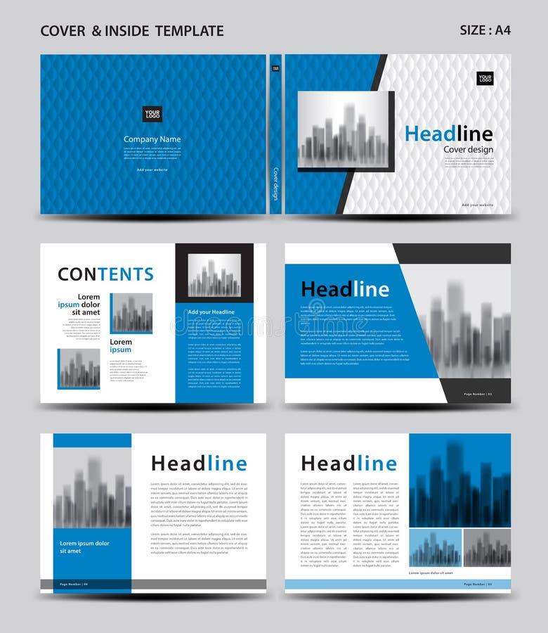 Błękit pokrywy projekt i inside szablon dla magazynu, reklamy, prezentacja, sprawozdanie roczne, książka, ulotka, plakat, katalog royalty ilustracja