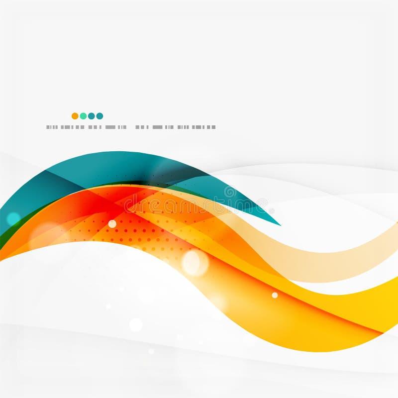 Błękit, pomarańcze, czerwona zawijas fala wykłada Lekki projekt ilustracja wektor